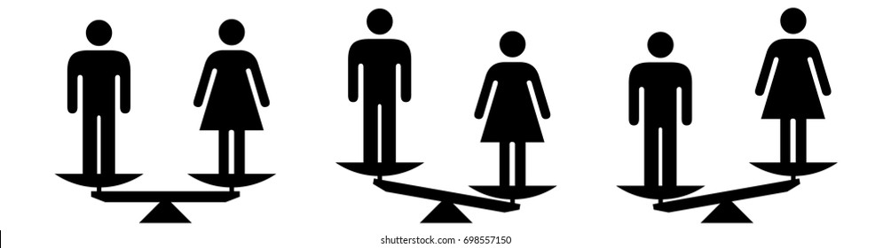 People icons - social equality concept - scales showing equal and unequal social status between men and women.