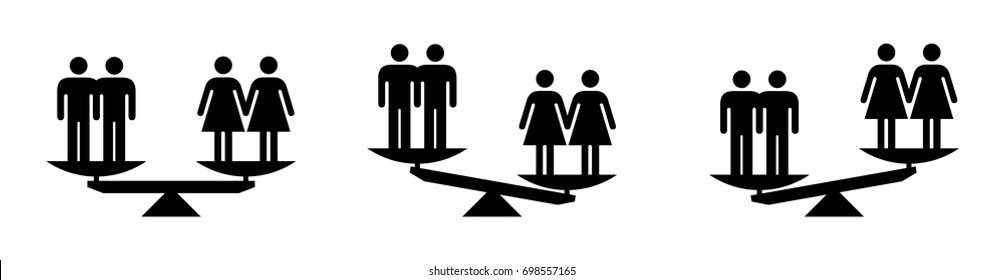 People icons - social equality concept - scales showing equal and unequal social status between male and female homosexual relationships.