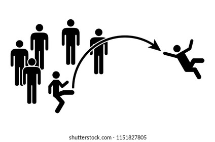People icons: teamwork concept - exclusion; removal from a team