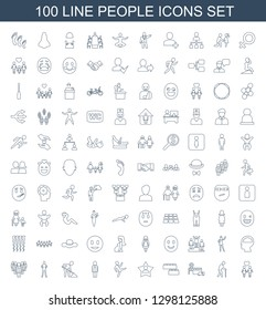 people icons. Trendy 100 people icons. Contain icons such as couple, old man, hospital, child building kit, favourite user, man doing exercises. people icon for web and mobile.