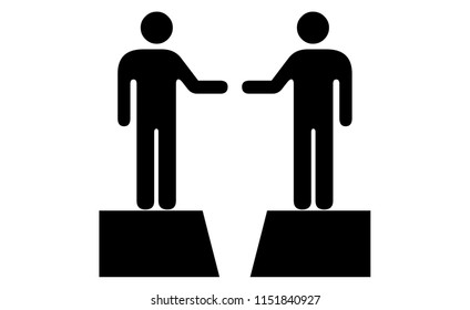 People icons: Two individuals / experts / professionals reaching out to close the gap between them.