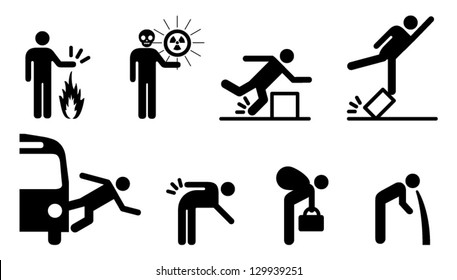 People icons: a variety of common accidents. Burns, radioactivity,trip,fall,falling out of vehicles,back strain, heavy lifting and poisoning.
