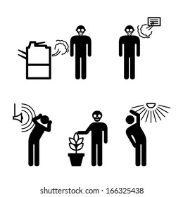 People icons: a variety of environmental hazards in the office/workplace. Equipment fumes, polluted air, poor air conditioning, loud noise, poisonous plants, and glare from excessive light.