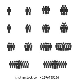 People Icons Work Group Team, Persons Crowd Symbol Perfect Design Simple Set For Using In Web site Infographics Report, Solid Vector Illustration