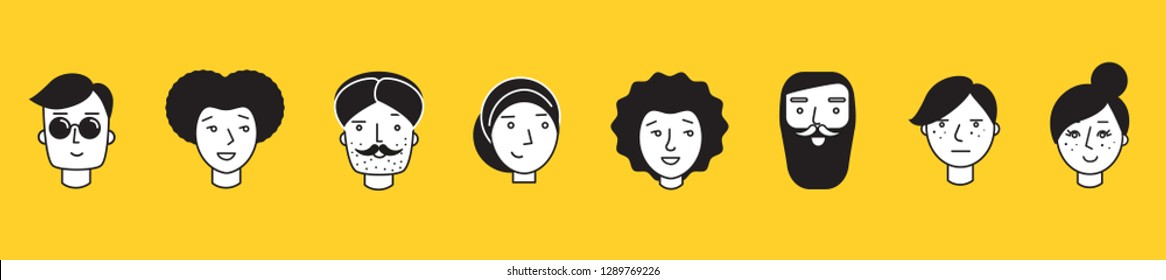 People illustration start-up persona different ethnicity