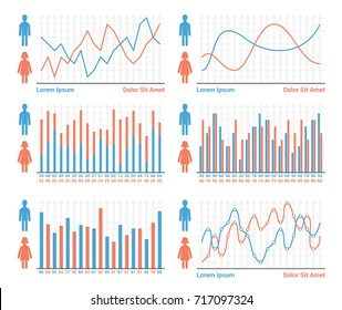 People infographics - different types of bar graphs and line graphs, vector eps10 illustration