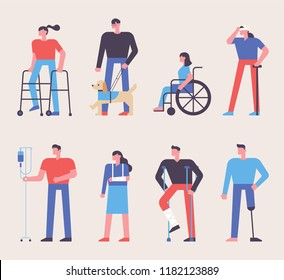 People injured in various cases. flat design style vector graphic illustration
