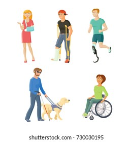 People with injures and disabilities - wheelchair, blindness, broken arm and leg, artificial limb, flat cartoon vector illustration isolated on white background. People with traumas and disabilities