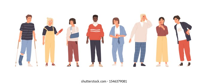 People with injuries and aches flat vector illustration set. Men and women suffering from pain cartoon character collection. Patients with medical conditions. First aid. Emergency medicine.