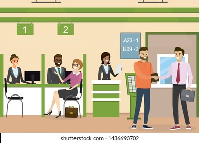 People inside bank, office interior design. Concept with various business people. Cartoon bank manager and customers. Flat vector illustration