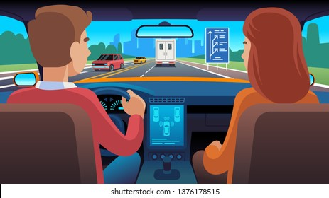 People inside car interior. Travel driver navigation seat dating family passengers taxi safety speed road, city trip flat vector illustration