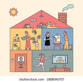 People inside the residence building. Home gardening, painting, yoga. flat design style minimal vector illustration.
