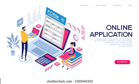 People interact with computers and online applications. Form, landing page for infographics. Flat isometric vector illustration.