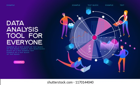 People interacting with analyzing statistics and  charts. Workflow and business management. 3D vector isometric illustration.