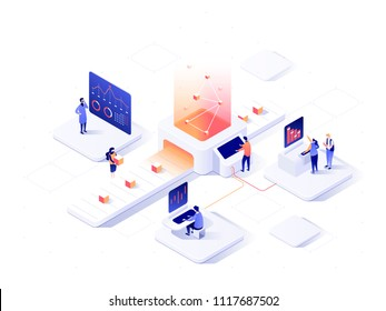 People interacting with charts and analysing statistics. Data visualisation concept. 3d isometric vector illustration.