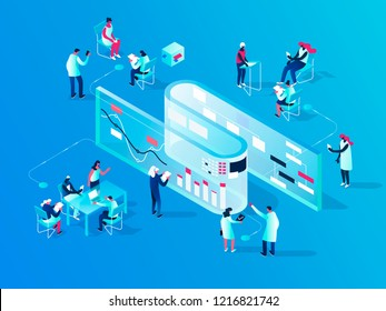 People interacting with charts and analysing statistics. Vector data visualisation concept. 3d isometric illustration