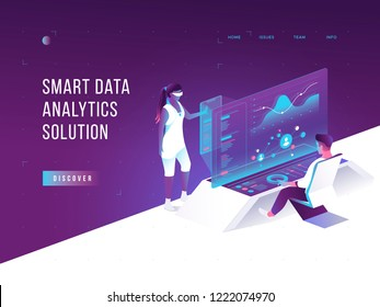 People interacting with charts and analysing statistics. Virtual augmented reality. Customer tracking software. Data visualisation concept. 3d isometric vector illustration.