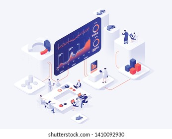 People interacting with charts and analyzing statistics. Data visualization concept. 3d isometric vector illustration.