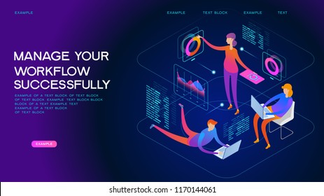 People interacting with graphs and papers. Workflow and business management. 3D vector isometric illustration.