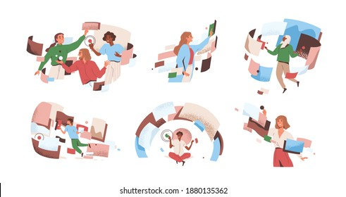 People interacting to workflow operations at cyber space vector flat illustration. Man and woman in workforce process optimization. Concept of management, productivity, multitasking and flow control