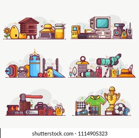 People interests and occupation equipment icons. Hobbies, professions and lifestyles concepts. Birdwatching, beekeeping, weightlifting, woodcutting and football playing spot illustrations or banners.