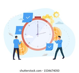 People investing money in watch. Clock, coins, gears. Time is money concept. Vector illustration for topics like finance, investment, startup