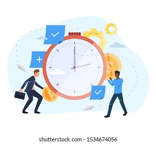 People investing money in watch illustration. Clock, coins, gears. Time is money concept. Vector illustration for topics like finance, investment, startup