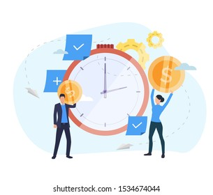 People investing money in watch landing page. Clock, coins, gears. Time is money concept. Vector illustration for topics like finance, investment, startup