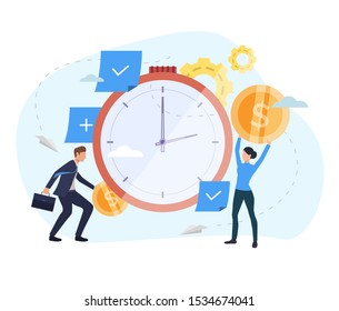People investing money in watch webpage. Clock, coins, gears. Time is money concept. Vector illustration for topics like finance, investment, startup