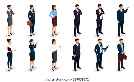 People Isometric 3D, isometric businessmen and business woman business clothes human movement. Concept isolated on white background.