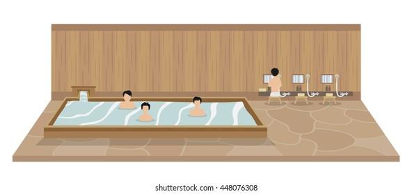 people in japanese hot spring onsen room cartoon vector