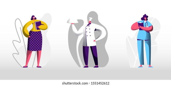 People Job Set Isolated on White Background. Young Woman in Glasses Holding Book Teacher or Secretary. Man in Apron and Toque Chief. Girl in Medical Robe Doctor. Cartoon Flat Vector Illustration