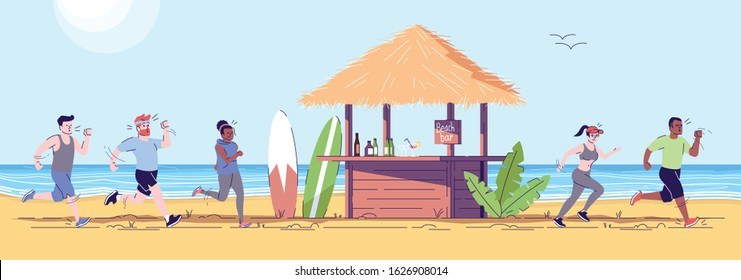 People jogging at seaside flat doodle illustration. Runners going past beach bar. Tourists doing sports on seashore. Indonesia tourism 2D cartoon character with outline for commercial use