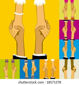People join in handshake & agree to a cooperate in a business or other deal as a team