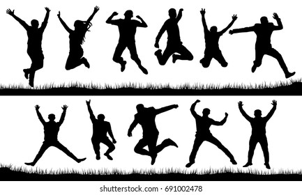 People in a jump silhouette set
