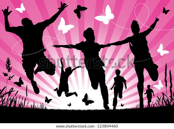 People jumping against an abstract Spring background.