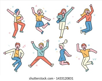 People are jumping with excitement and happiness. flat design style minimal vector illustration.