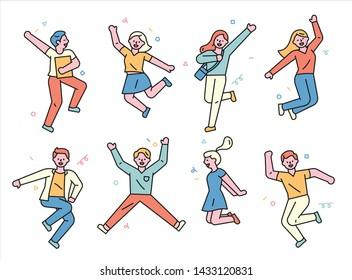 Die Menschen springen vor Aufregung und Glück. minimale Vektorgrafik im flachen Design.