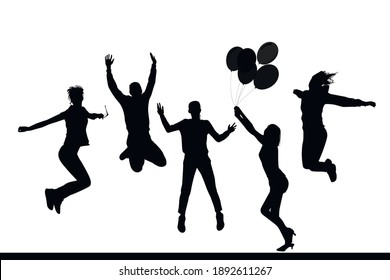 People jumping and having fun, girl with balloons, vector silhouettes.