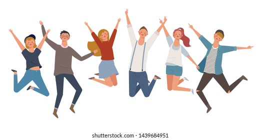 people are jumping together in a pleasant expression. flat design style minimal vector illustration.