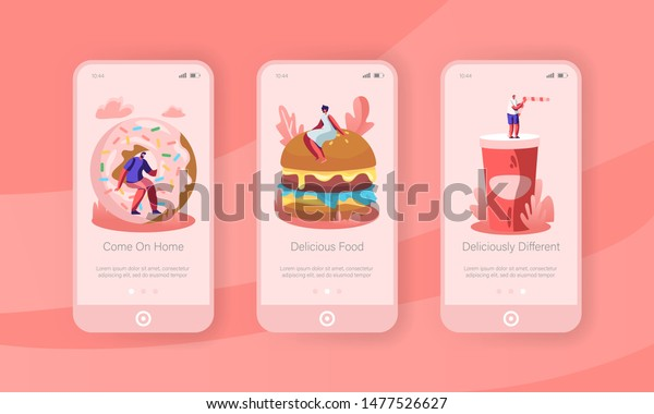 People and Junkfood Mobile App Page Onboard Screen Set. Characters Interacting with Huge Burger, Donut, Soda Drink. Street Fast Food Concept for Website or Web Page Cartoon Flat Vector Illustration
