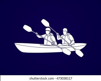 People kayaking graphic vector.