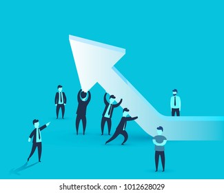 People keep the business arrow at the top. Vector illustration