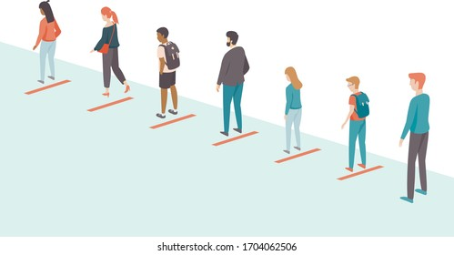 People keeping distance in the queue. Social distancing concept for coronavirus COVID-192019-ncovdisease oubreak. Flat vector illustration
