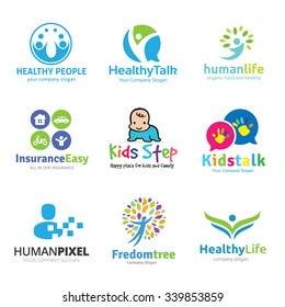 People and Kids logo collection, Fitness, Human, Health care, insurance, Creative idea brand identity.