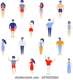 People kit . Crowd of people Big Vector set. Different walking and running people. Male and female. Flat vector characters isolated on white background