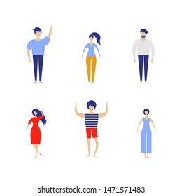People kit . Crowd of people Vector set. Male and female. Flat vector characters isolated on white background