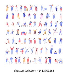 People kit - Part1. Crowd of people Huge  Vector set. Different walking and running people. Male and female. Flat vector characters isolated on white background.