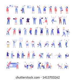 People kit - Part2. Crowd of business people Huge Vector set.Teamwork, brainstorming. Success.  Male and female working together. Flat vector characters isolated on white background.