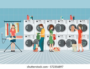 People in laundry room with row of industrial washing machines and facilities for washing clothes, Laundry service banner concept, vector illustration.